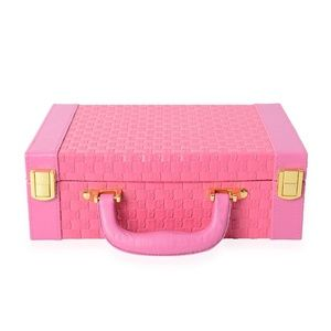 Jewelry Box Briefcase Faux Leather Pink Rose Red
